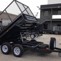 8x5 Caged Tipper Trailer with Ramps & 3 Ft Cage Australian Made Hydraulic Trailer for Sale in Brisbane.