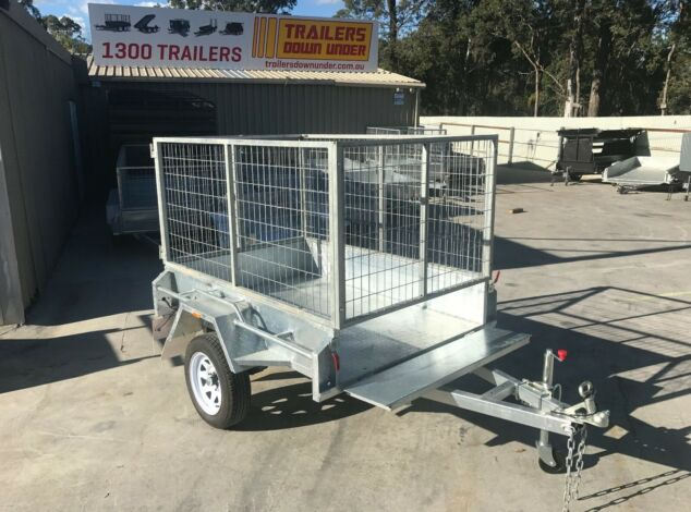 6x4 Single Axle Galvanised Trailer with 2 Ft Cage for Sale in Brisbane1