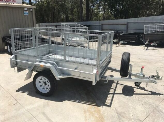 7x5 Single Axle Galvanised Trailer with 3 Ft Cage for Sale in Brisbane