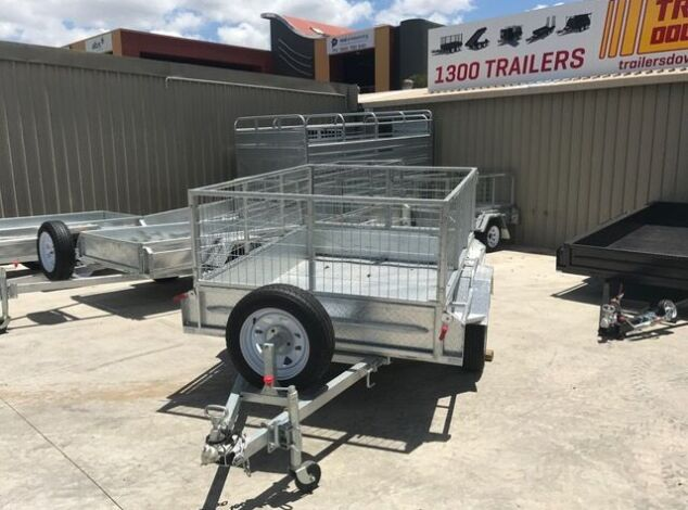 7x5 Single Axle Galvanised Trailer with 3 Ft Cage for Sale in Brisbane1