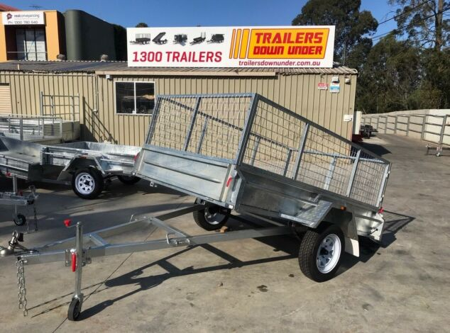 8x5 Galvanised Cage Trialer 3 Ft Cage Full Checker Plate For Sale Brisbane