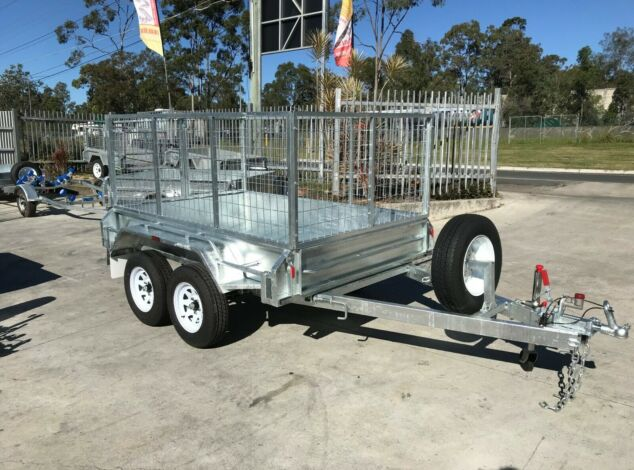 8x5 Tandem Galvanised Cage Trialer 3 Ft Cage Full Checker Plate For Sale Brisbane