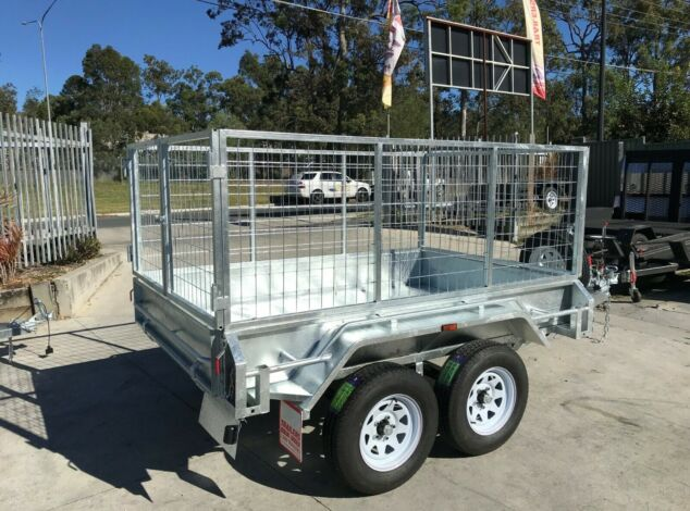 8x5 Tandem Galvanised Cage Trialer 3 Ft Cage Full Checker Plate For Sale Brisbane2
